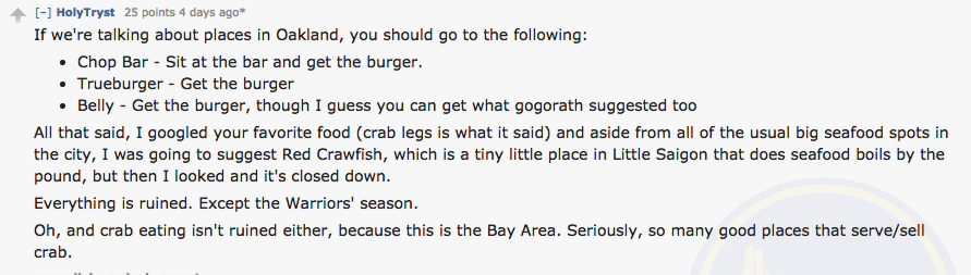 Enthusiastic Oakland resident keeps it real with some expert burger advice.